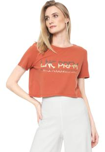 Camiseta Cropped Lança Perfume Lettering Caramelo
