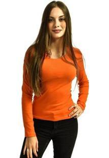 Camiseta Rich Manga Longa Básica Lisa Feminina - Feminino-Laranja