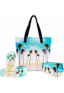 Kit Feminino Praia Céu Azul Com Bolsa, Necessaire E Chinelo, Magicc - Kanui
