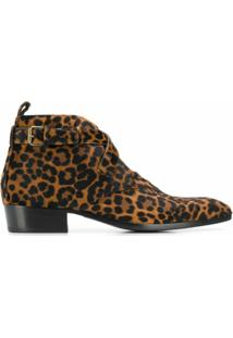 Saint Laurent Ankle Boot Animal Print - Neutro