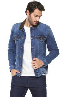 Jaqueta Jeans Utilitária Colcci Bolsos Azul