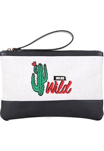 Bolsa Clutch Santa Lolla Cacto Wild Feminina - Feminino-Bege