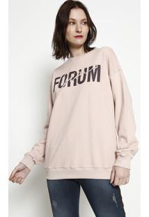 """Blusã£O Em Moletom """"Forum Jeans""""- Rosa Claro & Marrom Escforum"""
