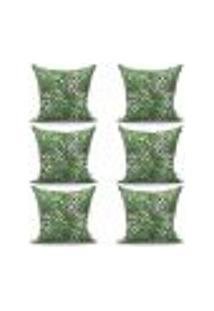Conjunto De Capas Para Almofada Com 6 Peças Nord Folhas Verde 60X60 Cm