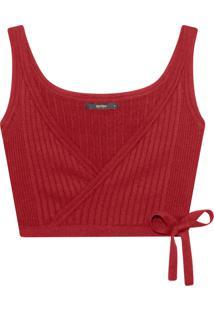 Blusa Cropped Transpassada Tricô Vermelho Strawberry - Lez A Lez