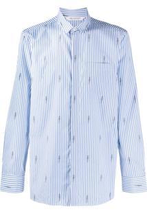 Neil Barrett Camiseta Listrada Com Raio - Azul