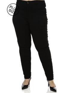 Calça Casual Plus Size Feminina - Feminino-Preto