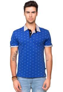 Camisa Polo Piquet Tony Menswear Com Elastano E Estampa Origami Azul