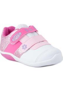 Tênis D-Tox Com Velcro - Feminino-Branco+Pink