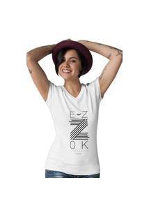 Camiseta Feminina Gola V Ezok Z Branco