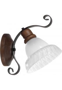 Arandela Para 1 Lâmpada Rústica Sombrero Madelustre Imbuia