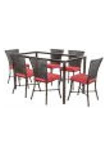 Jogo De Jantar 6 Cadeiras Turquia Tabaco A16 E 1 Mesa Retangular Sem Tampo Ideal Para Área Externa Coberta