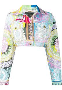 Versace Jaqueta Jeans Technicolour Com Estampa Barroca - Rosa