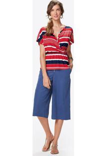 Blusa Estampada Transpassada Malwee