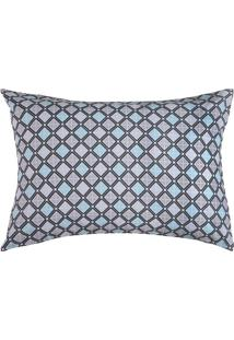 Fronha Royal Plus Estampada- Cinza Claro & Azul Marinho