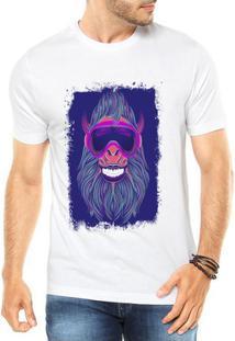 Camiseta Criativa Urbana Macaco Neon Festa - Masculino-Branco