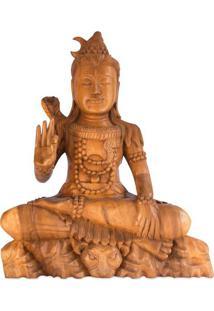 Escultura Shiva Em Madeira Suar 54Cm   Bali