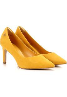 Scarpin Couro Capodarte Salto Médio Básico - Feminino-Amarelo