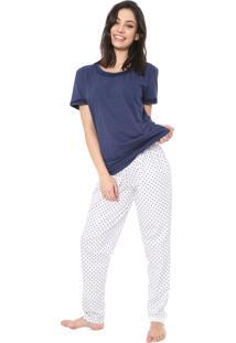 Pijama Bela Notte Poás Azul-Marinho/Branco