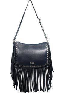 Bolsa Em Couro Recuo Fashion Bag Transversal Azul Marinho