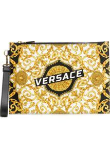Versace Bolsa Clutch De Couro Com Logo - Preto