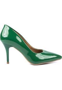 Scarpin Verniz Di Scarp Salto Médio Glamour - Feminino-Verde Escuro