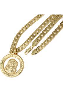 Pingente Cristo Com Corrente Tudo Jóias Folheado Dourado