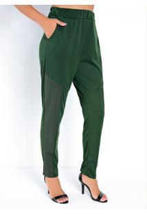 Calça Verde Com Recortes Em Cirrê