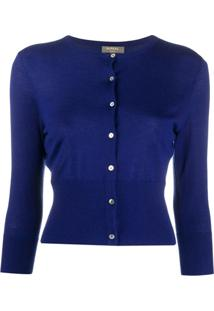 N.Peal Cardigan Cropped De Cashmere - Azul