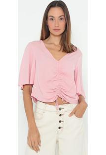 Blusa Com Franzidos- Rosa Claro- Colccicolcci