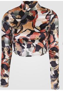 Blusa Cropped Dimy Veludo Estampado Bege/Preto - Kanui