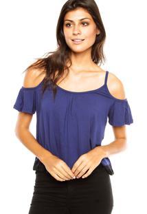 Blusa Ciganinha Fiveblu Renda Azul