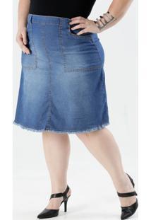 Saia Feminina Plus Size Jeans Marisa