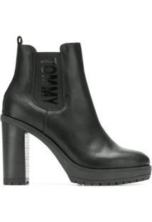 Tommy Hilfiger Ankle Boot De Couro - Preto
