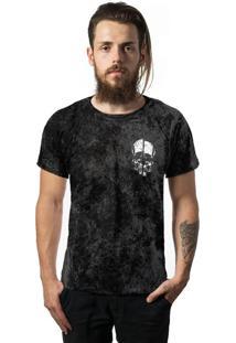 Camiseta Skull Lab Estonada Pre Lavada Marmore Caveira Preta