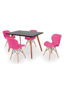 Conjunto Mesa De Jantar Gih 120X80Cm Preta Com 4 Cadeiras Slim - Rosa