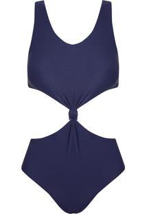 Body Rosa Chá Canel Canelado Sideral Beachwear Azul Feminino (Sideral, Pp)