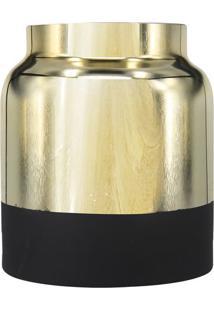 Vaso Metalizado- Dourado & Preto- 17Xã˜15Cm- Btc Btc Decor