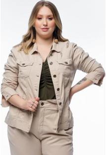 Jaqueta Plus Size Caqui Sarja