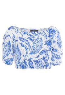 Blusa Feminina Cropped Laise Kilin - Azul