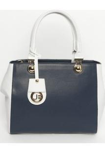 Bolsa Em Couro Com Bag Charm- Azul Marinho & Branca-Jorge Bischoff