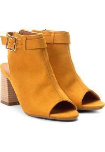 Ankle Boot Suede Zatz Fivela Feminina - Feminino-Amarelo Escuro