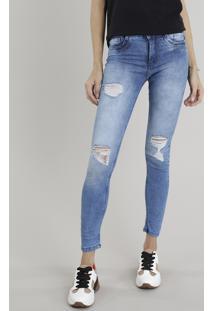 Calça Jeans Feminina Skinny Sawary Destroyed Azul Médio