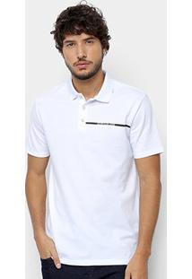 Camisa Polo Calvin Klein Logo Palito Masculina - Masculino-Branco