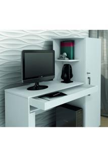 Mesa Para Computador 1 Armário E Prateleira Office Valdemóveis Branco Fosco