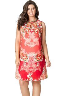 086d23ecfb ... Vestido Curto Plus Size Cetim Gota Floral Vermelho