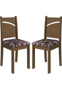 Cadeira Melissa Mdf 02 Unidades Savana/Floral Bordô Cimol