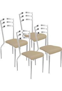 Kit 4 Cadeiras Portugal Cromada Kappesberg 4C007 Nude