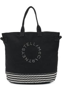 Stella Mccartney Bolsa Tote Estampada Com Logo - Preto