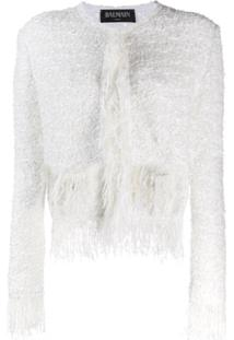Balmain Jaqueta De Tweed Com Franjas - Branco